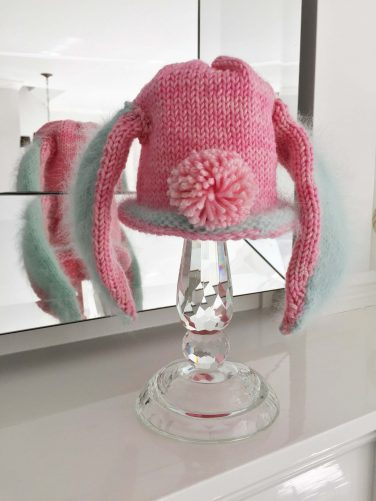 pink pale green nantucket island bunny hats
