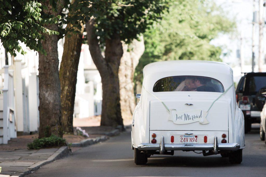 white antique wedding car
