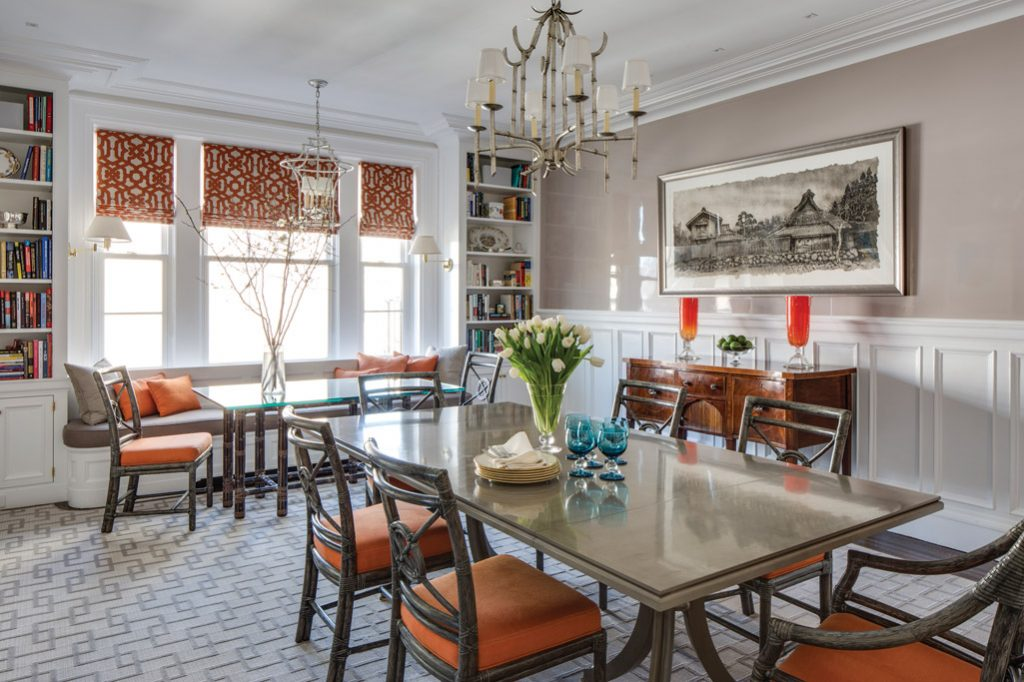 nantucket dining room brimming with stylewith colorful accents