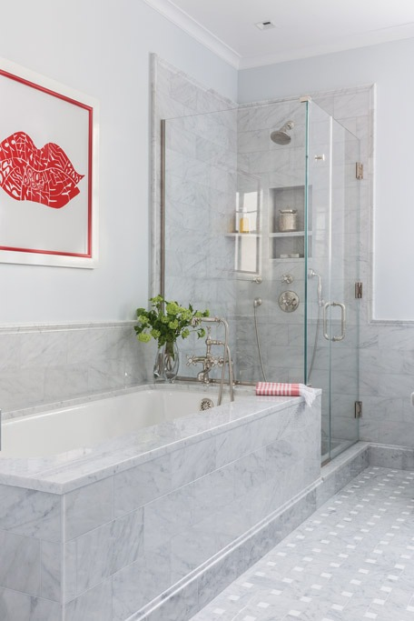 Nantucket marble bathroom