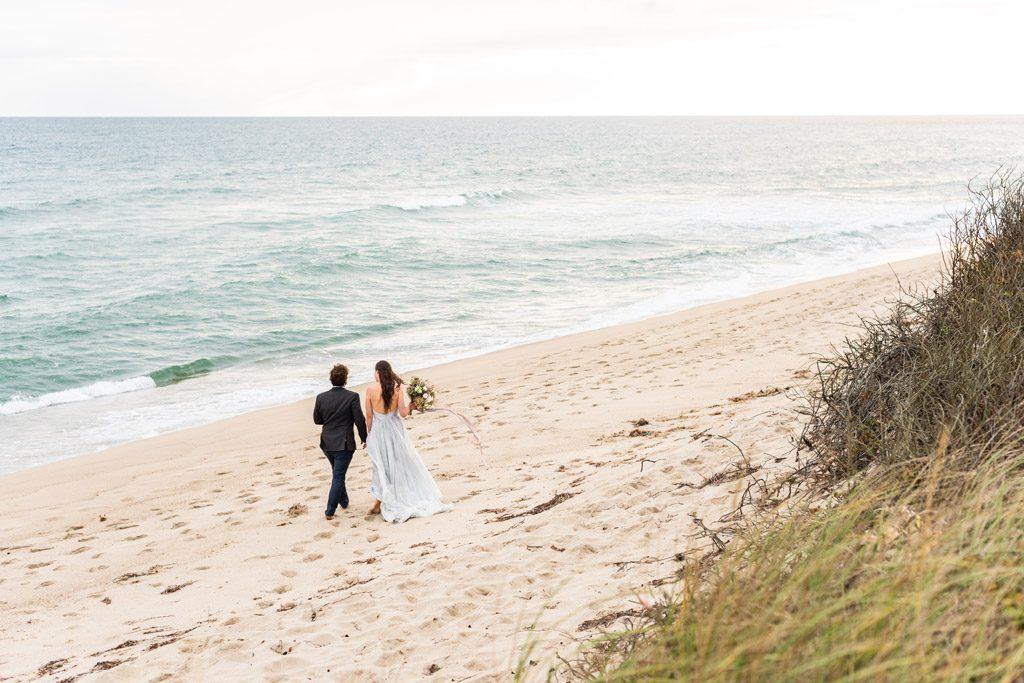 wedding couple on madequecham beach 2020
