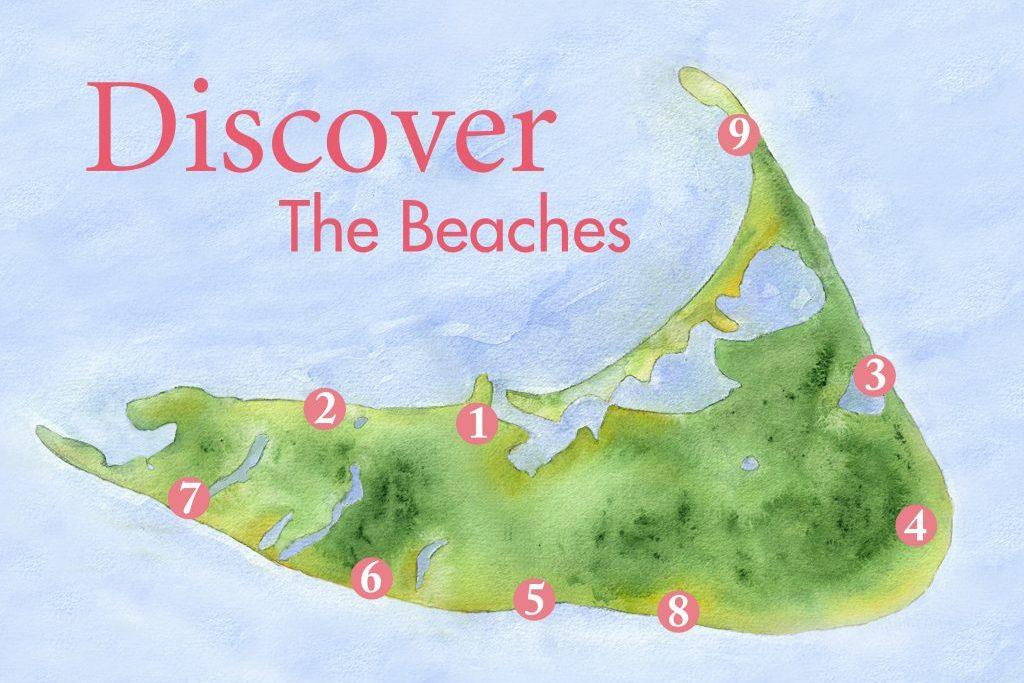 beaches nantucket map