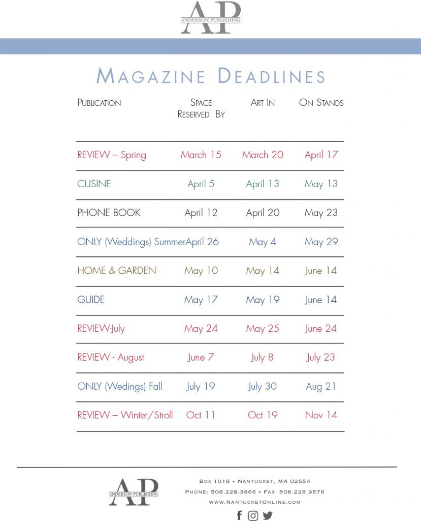 nantucket publications advertising deadlines 2021